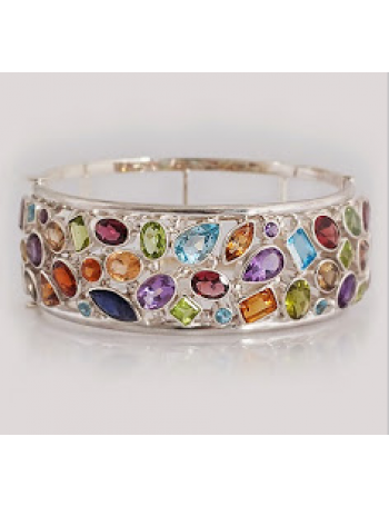J - BL 01 - A stunning silver bangle filled with  a rainbow of Garnets, Topaz, Citrines, Spinels, Iolites and Peridots
